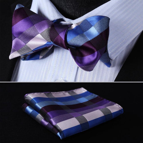 Purple Blue Silk Self Bow Tie handkerchief set by The Belt Giant