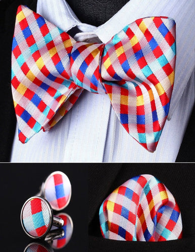 Red Yellow Check Men Silk Self Bow Tie handkerchief Cufflinks set by The Belt Giant