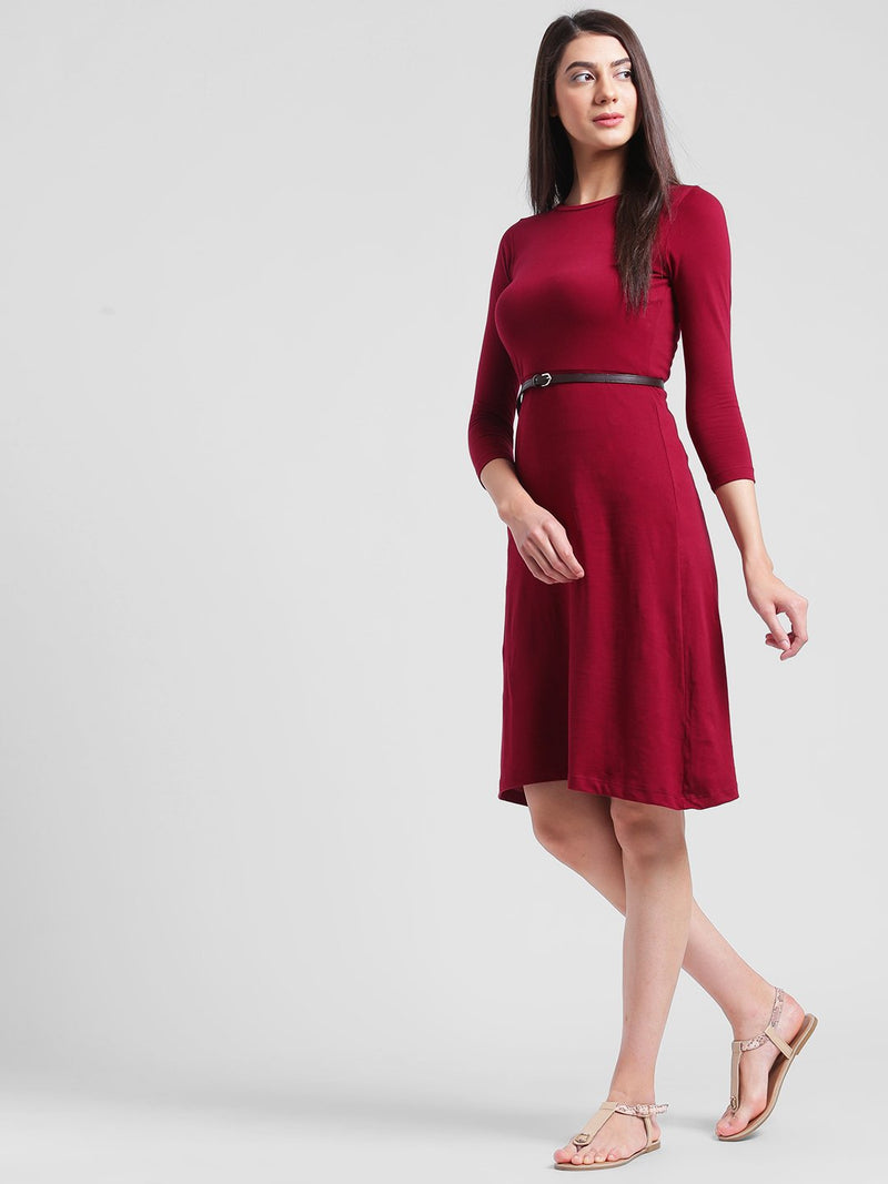 RIGO Maroon Aline Midi Dress