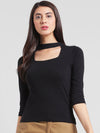 RIGO Black Choker Neck Top