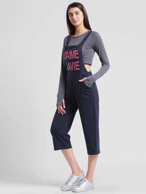 RIGO Navy Blue Slogan Printed Dungaree