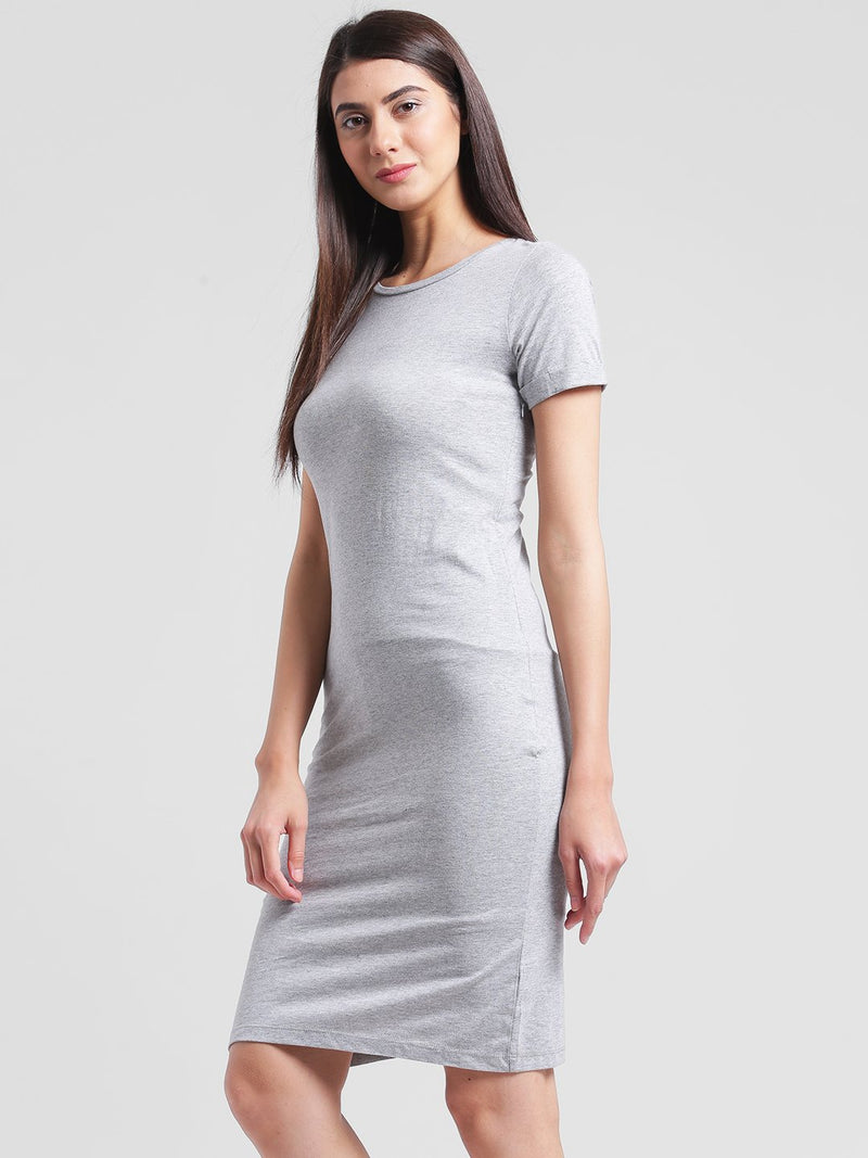 RIGO Solid Grey Knee length Bodycon dress