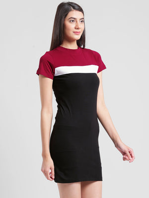RIGO Maroon and Black Bodycon Dress