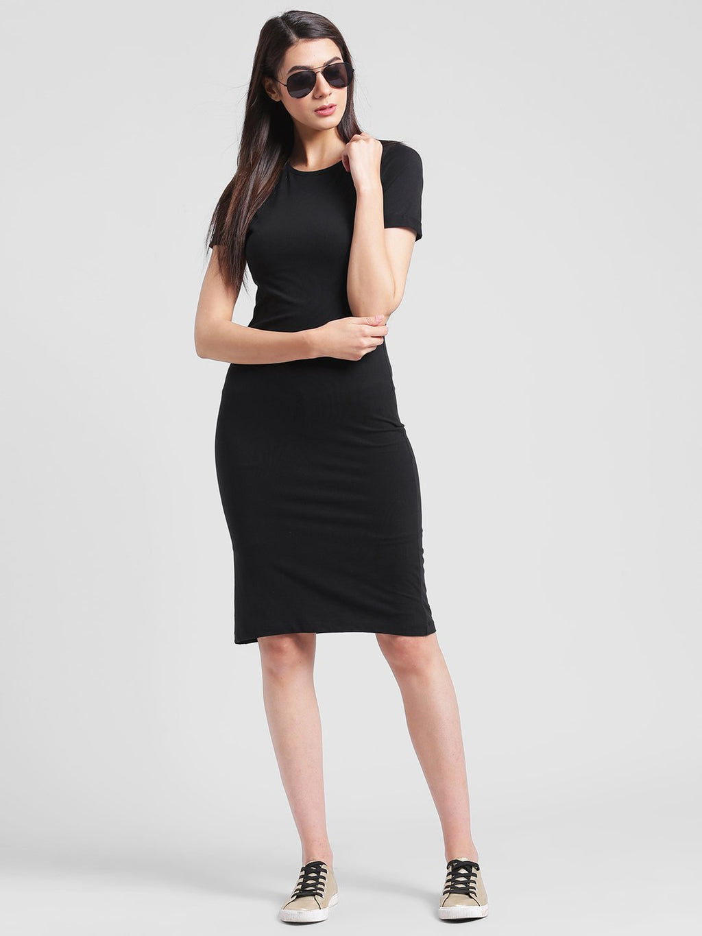 RIGO Solid Black Knee length Bodycon dress