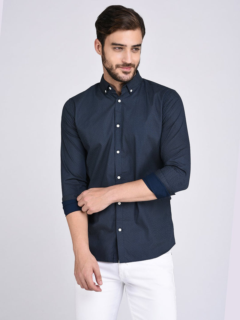 Rigo Printed Navy Button Down Collar Shirt-Full