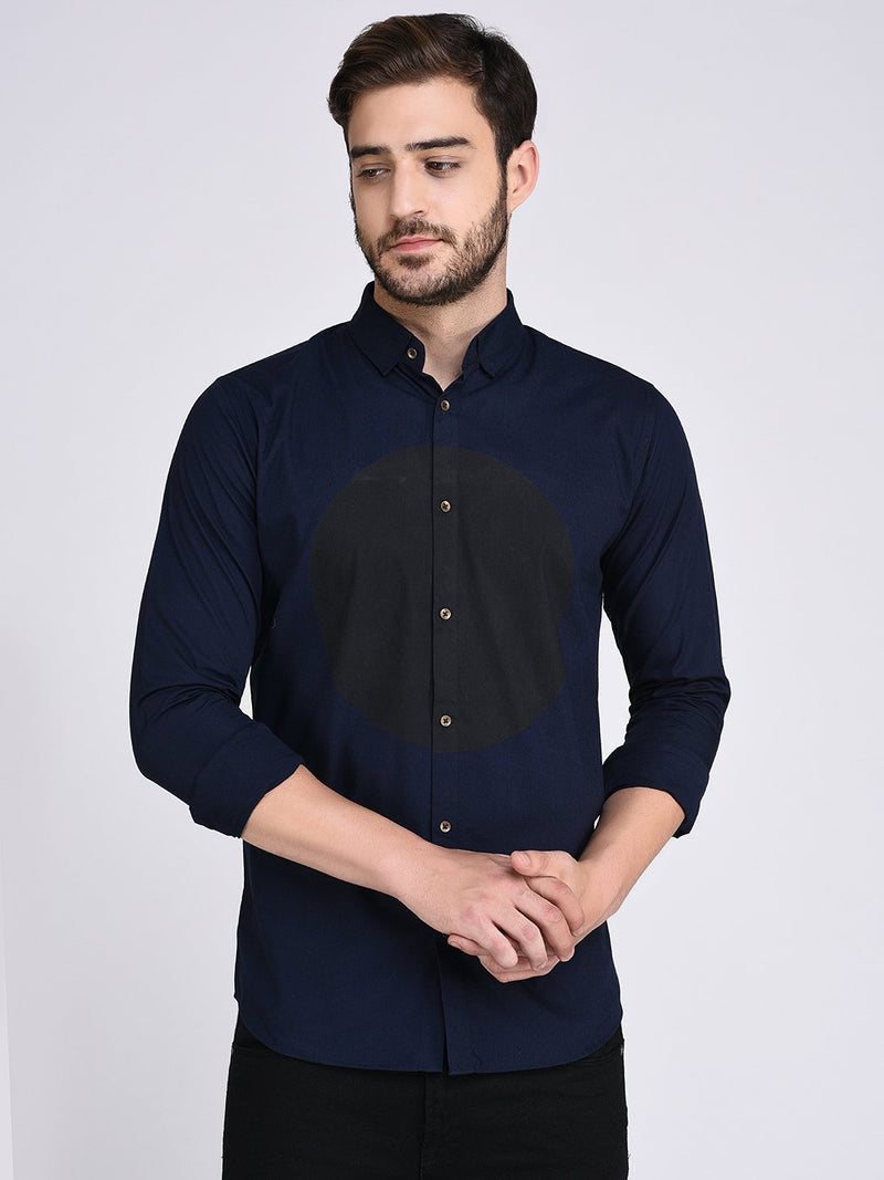 Rigo Navy Circle Print On Front Shirt-Full