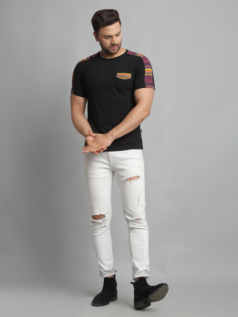 Rigo Men Black With Printed Contrast Detailing On Sleeve Round Neck Cotton Half Sleeve T-Shirt