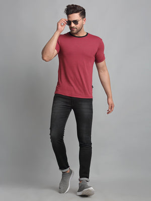 Rigo Men Red Self Texture Stripe Round Neck Cotton Half Sleeve T-Shirt