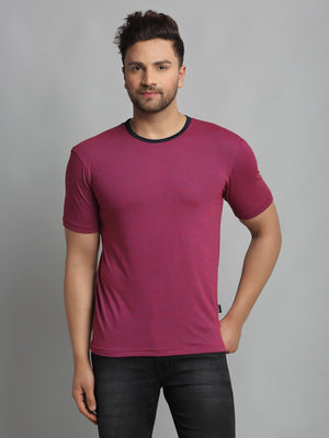 Rigo Men Purple Self Texture Stripe Round Neck Cotton Half Sleeve T-Shirt