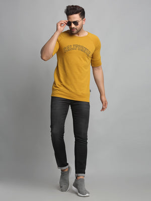 Rigo Men Mustard CALIFORNIA Print Round Neck Cotton Raglan Half Sleeve T-Shirt