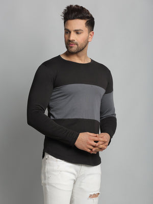 Rigo Men Black Light Grey Cut & Sew Round Neck Cotton Full Sleeve T-Shirt