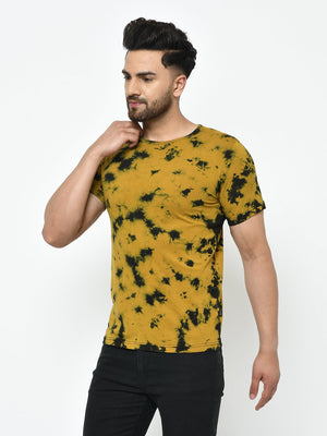 Rigo Men Mustard Tie & Dye Half Sleeve Cotton T-Shirt