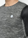 Rigo Men Active Wear Grey Self Design Cut & Sew Full Sleeve T-Shirt
