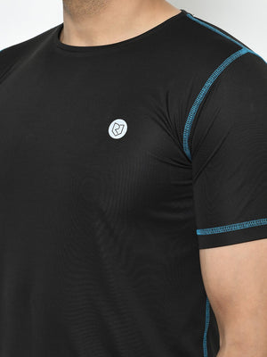 Rigo Men Active Wear Black Contrast Thread Detailing Half Sleeve T-Shirt