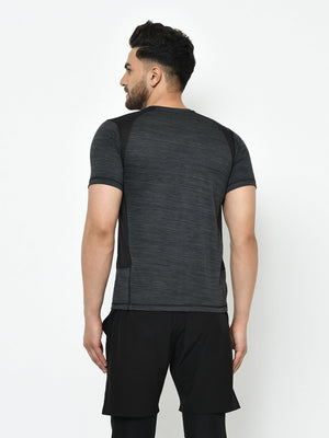 Rigo Men Active Wear Charcoal Black Self Design Cut & Sew Half Sleeve T-Shirt