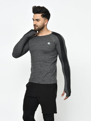 Rigo Men Active Wear Charcoal Grindle With Sleeve Detailing Thumbhole Full Sleeve T-Shirt