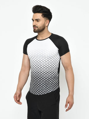 Rigo Men Active Wear White Black Printed Raglan Half Sleeve T-Shirt