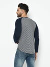 Rigo Men Grey Navy Stripe With Curved Bottom Raglan Full Sleeve Cotton T-Shirt