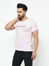 Rigo Men Light Pink Vintage Print Half Sleeve Cotton T-Shirt