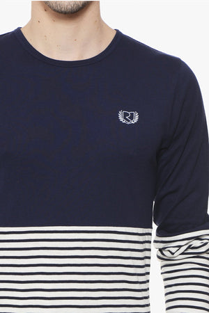 RIGO Navy Solid & Stripe Tee Full Sleeve
