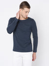 Rigo Blue Stripe Scoop Neck Full Tshirt For Men