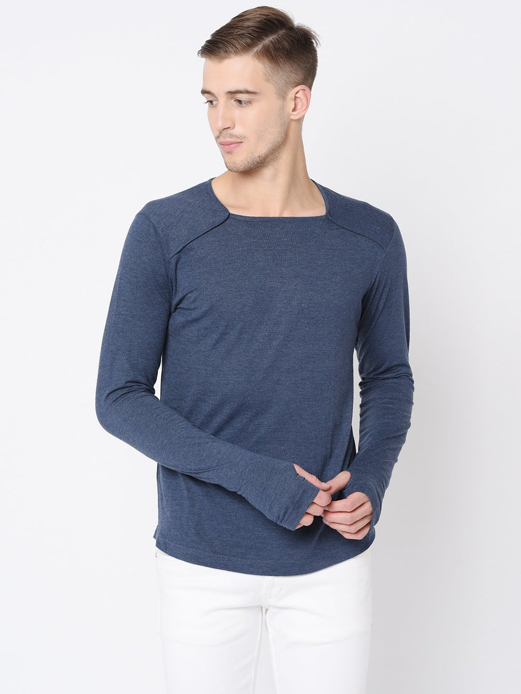 Rigo Blue Melange Square Neck Henley Tshirt For Men