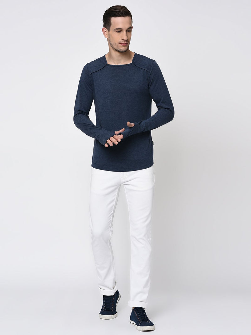 Rigo Blue Melange Square Neck With Thumbhole Full Sleeve T-Shirt for Men