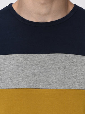 Rigo Navy Grey Mustard Colorblock Half T-Shirt for Men