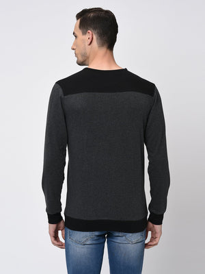 Rigo Black Charcoal Melange Back Yoke Full Sleeve T-Shirt for Men