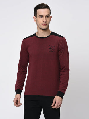 Rigo Black Maroon Melange  Back Yoke Full Sleeve T-Shirt for Men