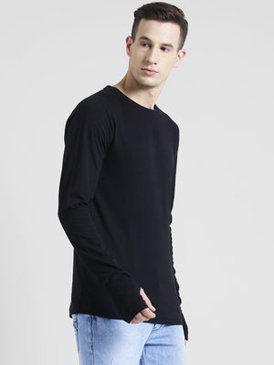Rigo Black Thumbhole Full Sleeve T-Shirt For Men