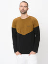 Rigo Mustard Black Half & Half Cut & Sew Full Sleeve Tshirt For Men
