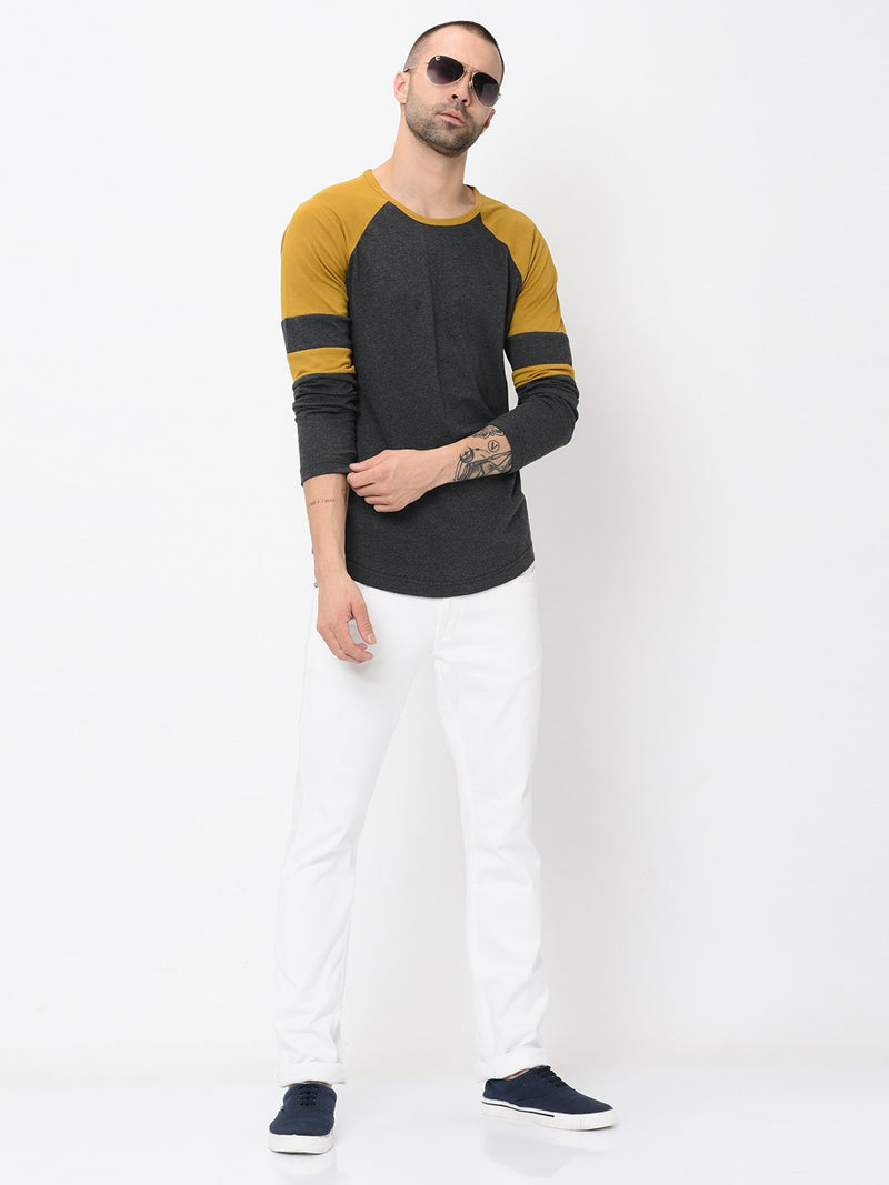 Rigo Charcoal Mustard Detailing On Raglan Sleeve Tshirt For Men