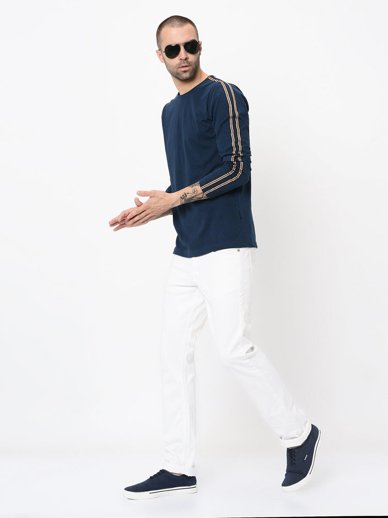 Rigo Navy With Tape Detailing Full Sleeve Tshirt For Men