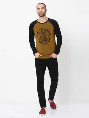 Rigo Mustard  With Placement Print Full Sleeve Tshirt For Men