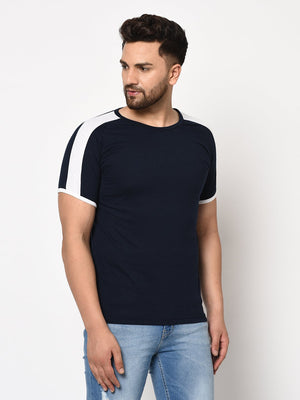 Rigo Men Navy White Contrast Sleeve Detail Half Sleeve Cotton T-shirt