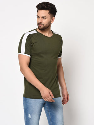 Rigo Men Olive Green White Contrast Sleeve Detail Half Sleeve Cotton T-shirt
