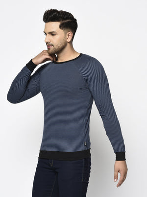 Rigo Men Blue Stripe With Contrast Cuff And Bottom Round Neck Cotton Full Sleeve T-Shirt