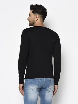 Rigo Men Black Logo Printed Round Neck Cotton Full Sleeve T-Shirt
