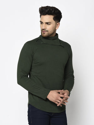 Rigo Men Bottle Green Turtle Mask Neck Cotton Full Sleeve T-shirt