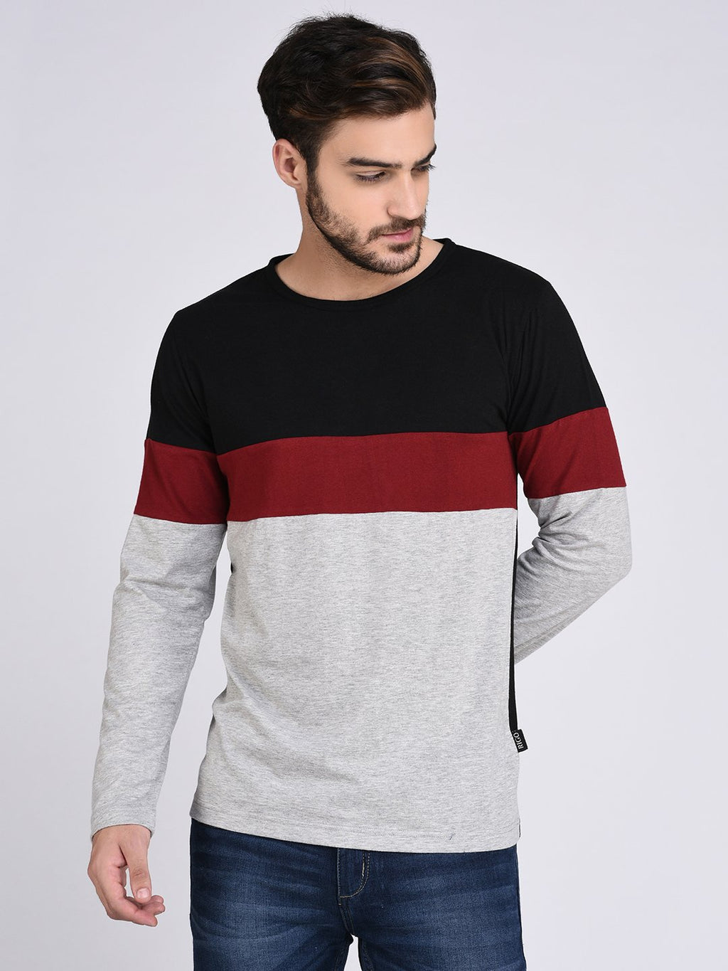 Rigo Black Maroon Grey Colorblock Tshirt-Full