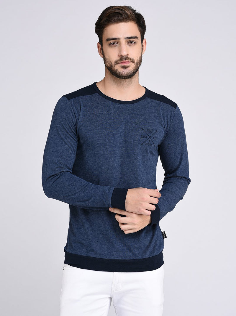 Rigo Blue With Navy Back Yoke Cuff And Bottom Tshirt-Full