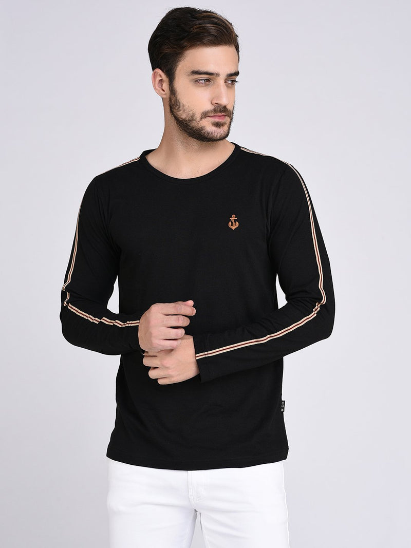 Rigo Black Stripe Tape Detail On Sleeve Tshirt-Full
