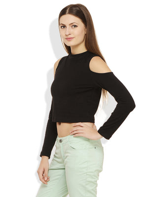 RIGO Black Cold Shoulder Crop Top