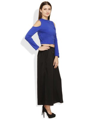 RIGO Royal Blue Cold Shoulder Crop Top