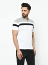 Rigo Men Grey White Cut & Sew Henley Half Sleeve Cotton T-Shirt