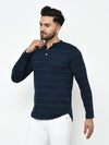 Rigo Men Blue Stripe Henley Full Sleeve Cotton T-Shirt