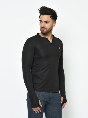 Rigo Men Active wear Zip Neck Henley Thumbhole Full Sleeve  T-Shirt