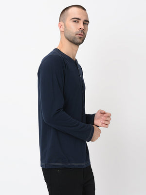 Rigo Navy with Contrast Stitch Detailing Henley Full Sleeve Tshirt For Men