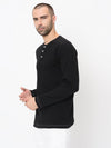 Rigo Black with Contrast Stitch Detailing Henley Full Sleeve Tshirt For Men